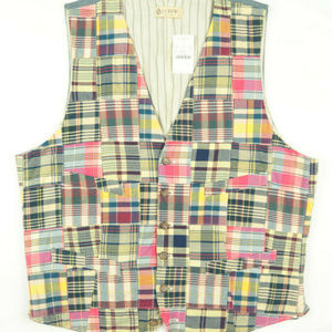 J Crew Madras Plaid Waistcoat Vest Size Large